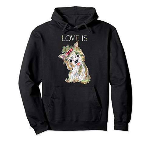 Love Is Cute Yorkshire Terrier Dog Mom Dad Kid Gift -