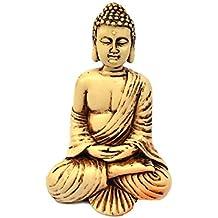 4in Buddha Statue / Idol / Decorative Figurine: Poly Marble with Antique Ivory Finish. PREMIUM QUALITY Buddha Idol in Meditation Pose. Attractive & Serene Small Buddha Statue.