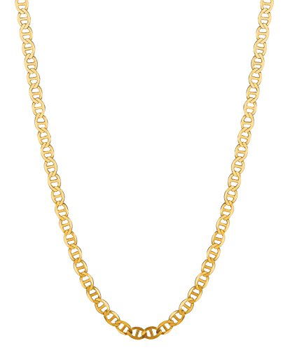 14K Solid Yellow Gold Anchor Mariner Link Chain Necklace 3.2 Mm 16