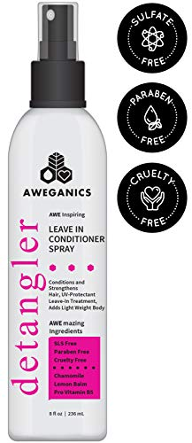 Aweganics Leave-in Conditioner Detangler Spray - AWE Inspiring Pro-Vitamin B5 Conditioning Hair Detangling Spray for Women, Men, Kids -SLS-Free, Paraben-Free, Cruelty-Free, COLOR SAFE, UV Protectant