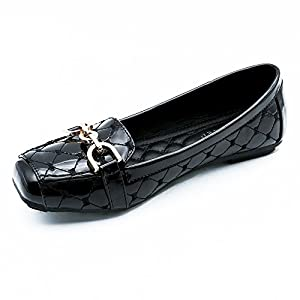 Meeshine Womens Buckle Slip On Loafer Casual Low Flats Square Toe Shoes