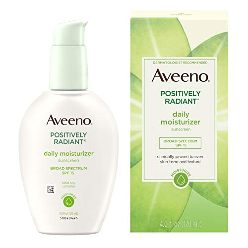 Aveeno Positively Radiant Daily Face Moisturizer with Broad Spectrum SPF 15 Sunscreen and Soy Extract, 4 fl. ()