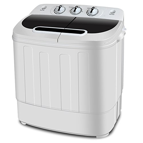 SUPER DEAL Portable Washer Mini Twin Tub Washing Machine w/Washer&Spinner, Gravity Drain Pump, 13lbs Capacity For Camping, Apartments, Dorms, College Rooms, RV's, Delicates and more (All Dogs Go To Heaven 3 Trailer)