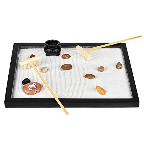 Zen Sand Garden for Desk & Office Decor: Tabletop Relaxation Meditation Landscape Kit - Wood Base, 2 Bags White Sand, 2 Mini Bamboo Rakes, Clay Incense Pot, Small Decorative Rocks & Large Painted Rock
