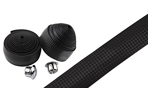 Topcabin Carbon Fiber Comfort GEL Road Bike Handlebar Tape Bike Bar Tape with Reflective Bar Plugs