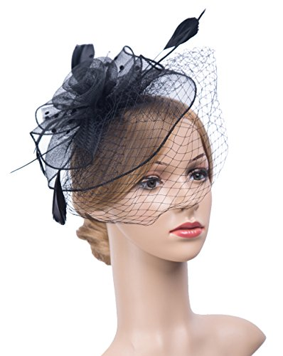 Hats And Headpieces (Women's Fascinators Hat 1920s Headpiece Hair Clip Feather Wedding Headware with Veil (Black))