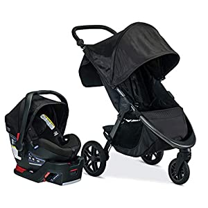 Britax B-Free Travel System with B-Safe Ultra Infant Car Seat | All Terrain Tires + Adjustable Handlebar + Extra Storage…