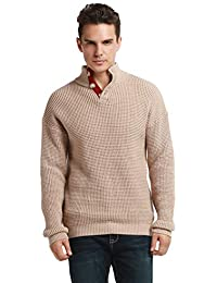 Men's Turtleneck Sweater Button Up Polo Cable Knit Sweater Pullover Tops