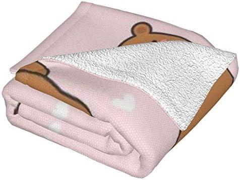 Couverture en polaire, motif ourson mignon sans couture, ultra doux et moelleux, couverture polaire pour canapé, lit et salon 127 x 101,6 cm
