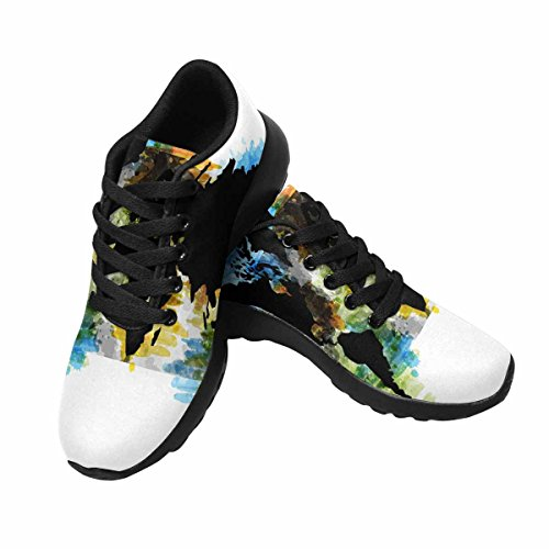 Interestprint Mujeres Casual Soft Sports Road Running Zapatos Para Caminar Mapa Del Mundo Acuarela Multi 1