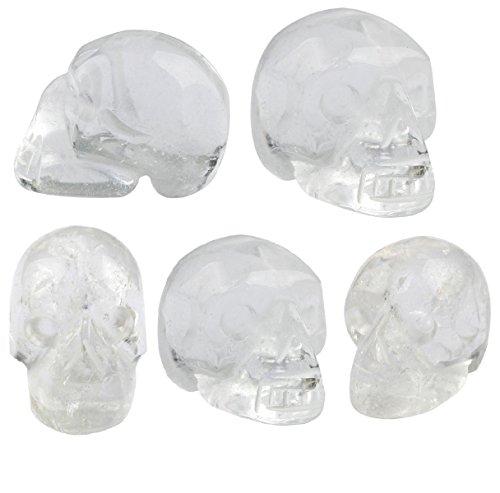 (SUNYIK Rock Quartz Carving Skull Stone Pocket Statue Figurine Decor 1