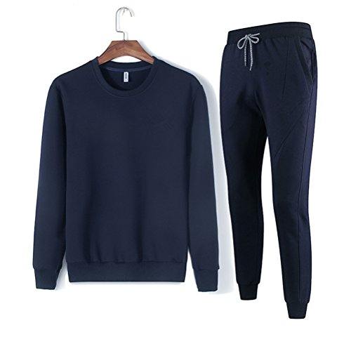 Navy Blue Tracksuit (Lanmay Men's Solid Long Sleeve Sport Pullover & Sweatpant Set Tracksuit Large Navy Blue)
