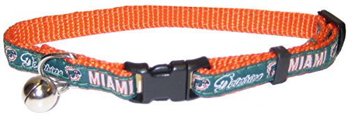NFL CAT COLLAR. - MIAMI DOLPHINS CAT COLLAR. - Strong & Adjustable FOOTBALL Cat Collars with Metal Jingle Bell