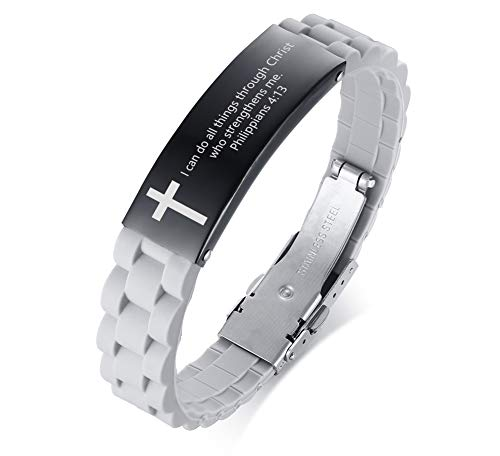MEALGUET Stainless Steel I can do All Things Through Christ who Strengthens me Philippian 4:13 Inspirational ID Bracelet Cross Wristband