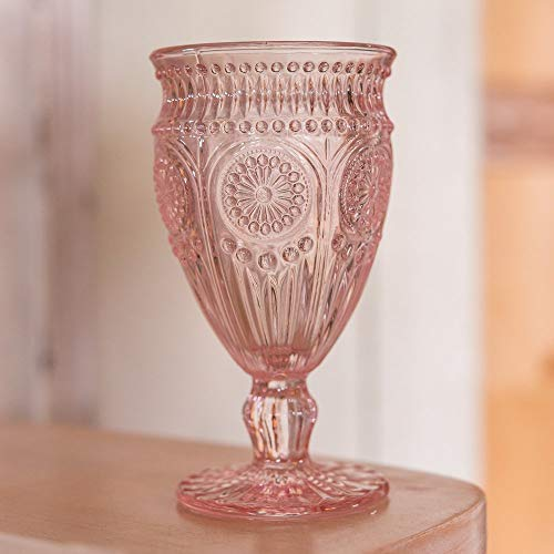 Weddingstar Vintage Inspired Pressed Glass Goblet, Blush Pink (Renewed)