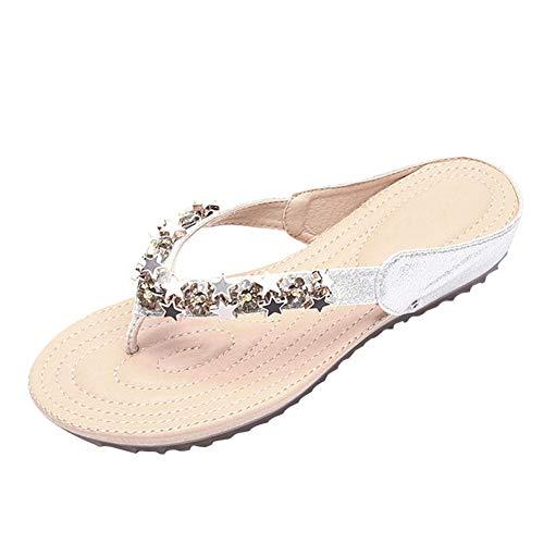 Desirepath Women's Rhinestone Sandals Diamond Head Flip Flop Elegant Jeweled Sandals Silver