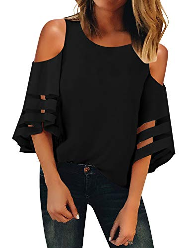 (LookbookStore Women's Scoop Neck Mesh Patchwork Blouse 3/4 Bell Sleeve Cold Shoulder Top Shirt Black Size Large)