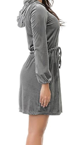 Sexy Fashion Dress Party Grey Long Comfy Evening Womens Hood Solid Sleeve tqSnE8z