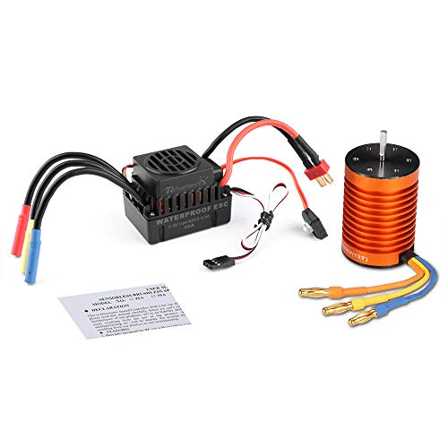 Scale Brushless Motor - Rcharlance F540 3000KV Brushless Motor 3.175mm Sensorless with 45A ESC Brushless Waterproof Electronic Speed Controller Combo Set Upgrade Power System for 1/10 RC Car Boat