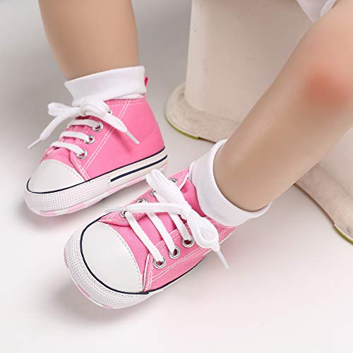551e4cac4be23 Unisex Baby Girls Boys Canvas Shoes Soft Sole Toddler First Walker Infant  Sneaker Newborn Crib Shoes(Pink,6-12Month)