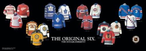 The Greatest-Scapes Framed and Matted History NHL Original Six Franchise Jerseys Print