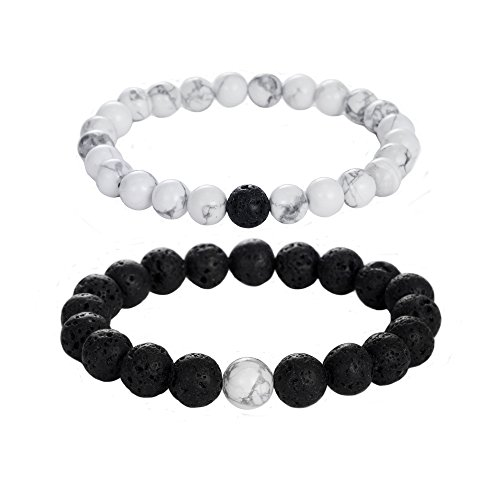 Distance Relationship Bracelets Couple Howlite
