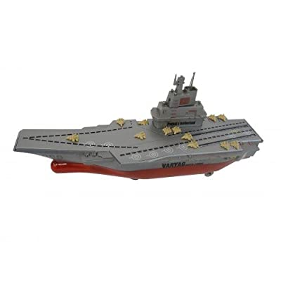 Megajump Military Action Aircraft Carrier with lights, sound, and rotating gunner