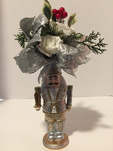 SILVER, WHITE, CREAM AND GOLD GLITTER NUT CRACKER ARRANGEMENT - MIXED HOLIDAY FLORAL IN SILVER, WHITE & RED - HOLIDAY - CHRISTMAS - KWANZAA - HANUKKAH - UNIQUE GIFT- ONE OF A KIND- UNUSUAL- UNIQUE