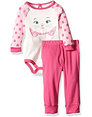 Baby Girls' 2-Piece Marie the Aristacat Pant Set with 3d Ears