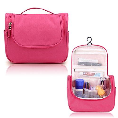 Hipiwe Appendere Beauty Case da Viaggio Borsa da Toilette Impiccagione Outdoor Pratico Cosmetici Borsa da Viaggio per Accessori Bagno (Rosso)