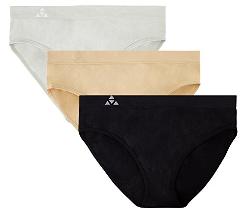 (Balanced Tech Women's 3 Pack Classic Seamless Hipster Brief Bikini Panties - Black/Nude/Gray - Small )