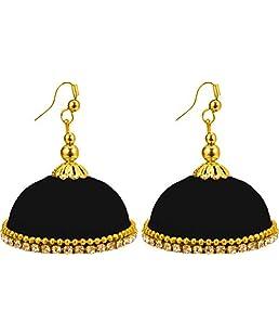 thread trends Black Plastic Silk Thread Jhumki Earring for Women