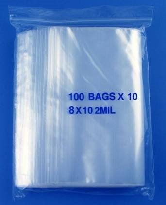 10' Polyethylene Plastic Bags - Vrinda® Zip lock Bags ( pack of 100) (8'' x 10'')