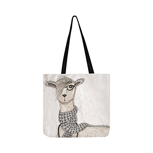 Promotional Oxfords - InterestPrint Custom Oxford Tote Bag Hipster Lama Womens Reusable Shopping Shoulder Bag Handbag