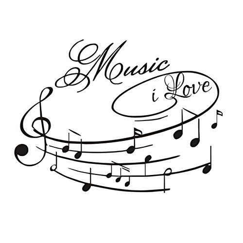 AELAHER Pegatinas De Pared Frases Music I Love Nota Musical DIY ...