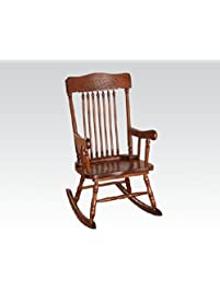 Kloris Collection Pressed Back Spindled Back Tobacco Finish Wood Childrenu0027s  Size Rocking Chair