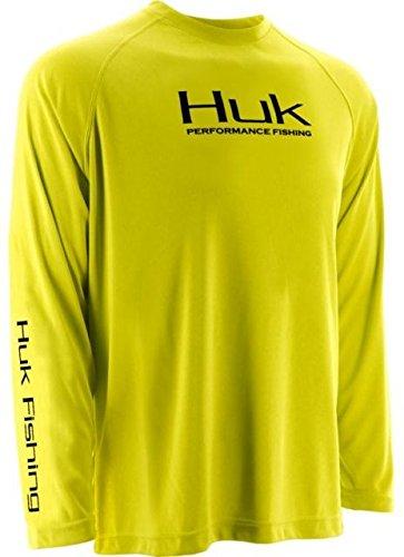 HUK H1200018BYWS Huk Performance Raglan Long Sleeve Shirt, Blaze Yellow, Small