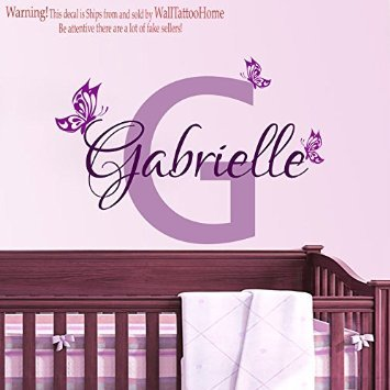 Personalised Name Initials Butterfly Wall Stickers Vinyl For Teen Girls  Bedroom Decor Baby Shower Wall Decals
