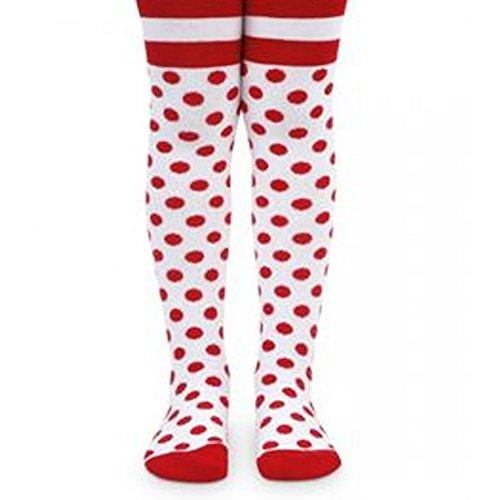 Jefferies Socks Little Girls Red White Polka Dot Stripe Pattern Tights (Red And White Polka Dot Leggings)