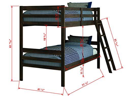 Donco Kids Economy Bunk Bed, Twin/Twin, Rustic Mocha Walnut