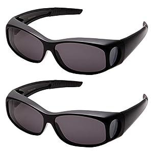 grinderPUNCH Polarized Sunglasses Wear Over Prescription Glasses (2 pcs) Small, Black