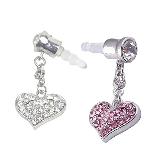 Heart Dangle Phone Charm - 2pcs Dust Caps for Phone, Love Heart Shape Dangle Earphone Jack Accessories Dust Plug Lovely Decor for Iphone 6s 6 Ipad Samsung Galaxy s7 s6 note5 Other Cellphone 3.5mm Ear Jack