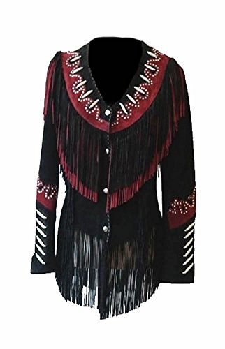 - Classyak Women's Western Cowgirl Fringes, Beads & Bones Suede Leather Jacket Black XX-Large