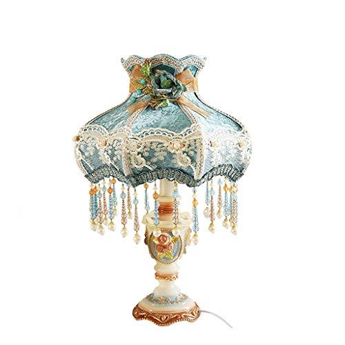 SACYSAC Bedside lamp, Night Light Blue Fabric Table lamp Bedroom Bedside lamp - Pendant 800 Lamp Floral