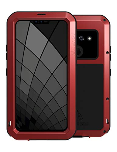 (LOVE MEI LG G8 Case, LG G8 Case Embedded with Glass Screen Protector Heavy Duty Metal Frame Silicone Rubber Cover Full Body Shockproof Scratch Resistant Bumper for LG G8 ThinQ (Red) )