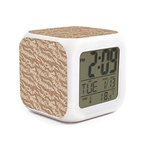 JWOJJUAW Wake Up tan Army Leopard Print Dimmer Snooze LED Nightlight Bedroom Desk Travel Digital Bell Alarm Clock for Kids Girls