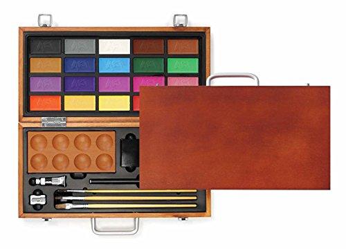 Xonex Travel Watercolor Paints Art Set in Wooden Carry Case - 20 Colors