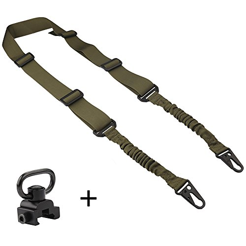 ACCMOR 1 Pcs 2 Point Rifle Sling with 1 Pcs QD Sling Swivel Mount, Multi-Use Gun Sling with Length Adjuster for Hunting, Shooting (2 Pistol)