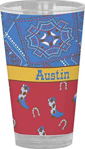 Cowboy Drinking/Pint Glass (Personalized) ()