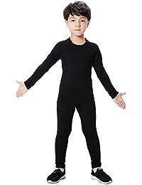 Kids Base Layer Set Compression Long Sleeve Soccer Practice T-Shirt and Pants 2Pcs